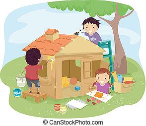 casa, jogo, crianças