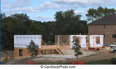 casa, lapso, tempo construção