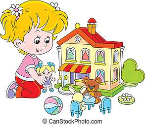 casa, menina, brinquedo, boneca