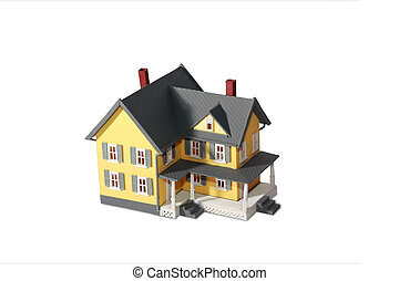 casa, modelo, branca, isolado, fundo