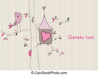 casa, pássaro, cartão