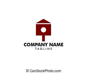 casa, pássaro, logotipo