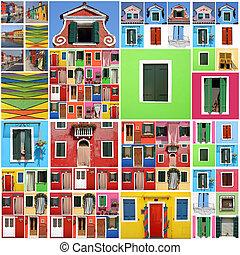 casa, padrão, abstratos, coloridos, burano