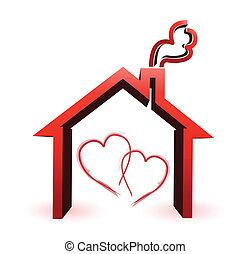 casa, par, desenho, ilustração, amando