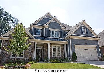 casa, pedra, siding, cinzento