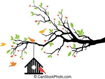 casa, primavera, vetorial, pássaro, árvore