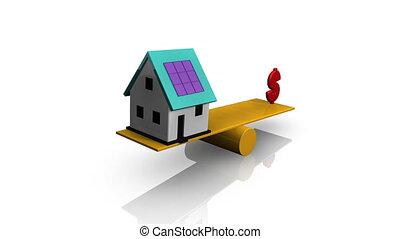 casa, símbolo, dólar, animação, balanço