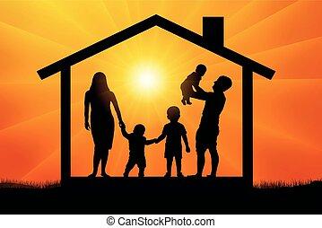 casa, silueta, família, feliz