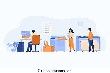 casa, usando, impressão, trabalhadores, computadores