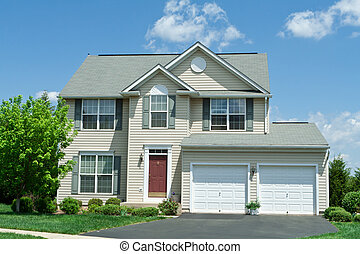 casa, vinil, frente, única família, md, lar, siding