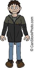 casaco, engraçado, escuro, menino