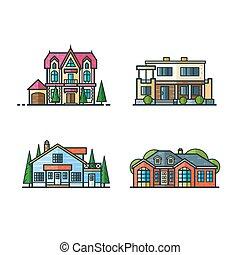 casas, ícones, residencial