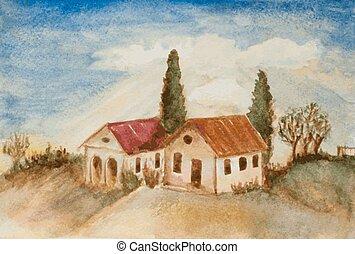 casas, aquarela, árvores, quadro, paisagem, colina
