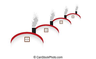 casas, arredondado, chaminé, telhado, fumar