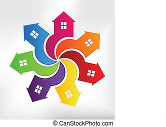casas, modernos, logotipo