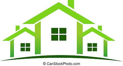 casas, verde, logotipo