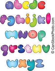 caso, alfabeto, abaixar, bolha, gorda