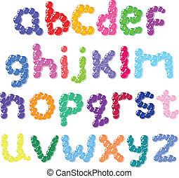caso, alfabeto, abaixar, bolhas