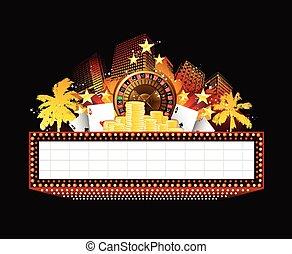cassino, glowing, brilhantemente, sinal, teatro, retro, néon