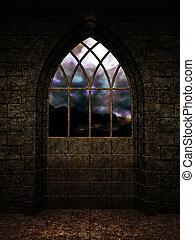 castelo, interior, fundo