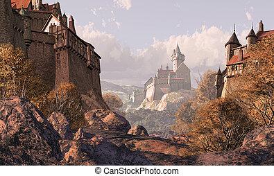 castelo, vila, medieval, vezes