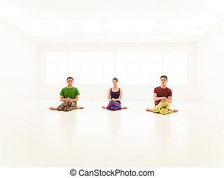 casual, três, classe ioga, pessoas