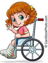 caucasiano, cadeira rodas, menina, sentando