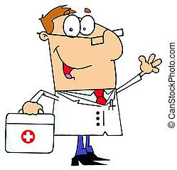caucasiano, caricatura, doutor, homem
