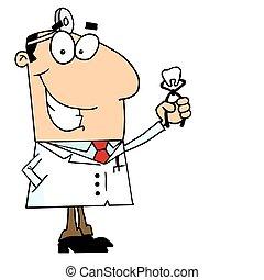 caucasiano, caricatura, homem, odontólogo