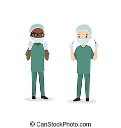 caucasiano, dois, cirurgião, americano, macho, homens