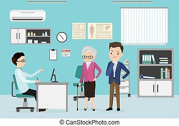 caucasiano, macho, paciente, doutor mulher, antigas
