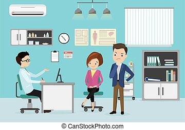 caucasiano, pacientes, macho, consultar, doutor, par, sala