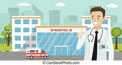 caucasiano, predios, ou, macho, car, doutor, ambulância, clínica