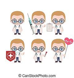 caucasiano, vário, doutor, mascote, poses, macho