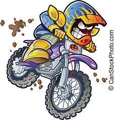 cavaleiro bicicleta, sujeira