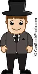 cavalheiro, vetorial, personagem, caricatura