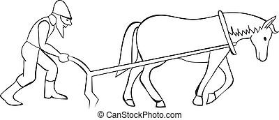 cavalo, arado, plowman