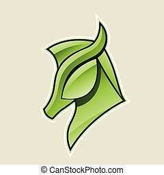 cavalo, cabeça, ilustração, vetorial, verde, lustroso, ícone