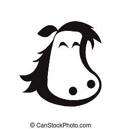 cavalo, -, isolado, vetorial, cabeça, ícone