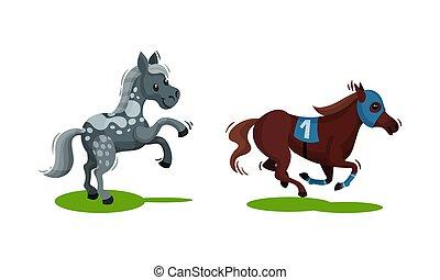 cavalo, jogo, vetorial, pastar, crista, campo verde