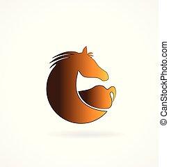 cavalo marrom, vetorial, isolado, ícone