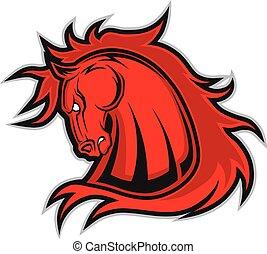 cavalo, mascote, cabeça, mustang, ou