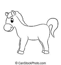 cavalo, vetorial, -, caricatura, ilustração