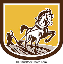 cavalo, woodcut, fazenda, arado, retro, agricultor, crista