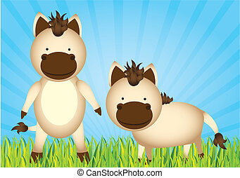 cavalos, cute, caricatura