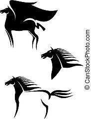 cavalos, emblemas, pretas
