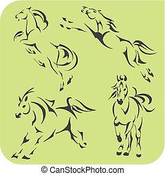 cavalos, luz, set., -, vetorial, vinyl-ready.