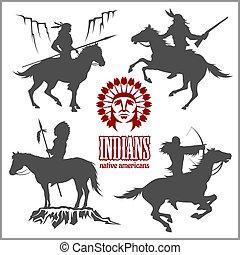 cavalos, oeste, -, silhuetas, americano, guerreiros, selvagem, montando, nativo
