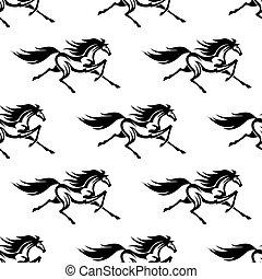 cavalos, padrão, branca, pretas, seamless