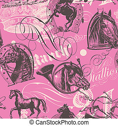cavalos, padrão, seamless